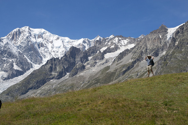 Dramatic views of Mont Blanc from high above Courmayeur on the TMB.