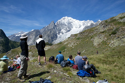 Lunch with a view?  This is on our Mont Blanc Highlights tour, midway between Courmayeur and Bonatti hut.