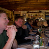 A group dinner at Bonatti hut on the TMB
