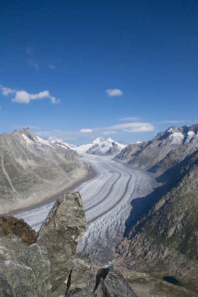 The Aletsch glacier is the largest glacier in the Alps. This is the view from the ridge above Riederalp, looking north.