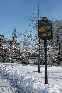 "Snowy Scene, Easton, PA 2/4/2014 ""David Martin's Ferry -*- Operated at ""The Forks"" on grants received in 1739 and 1741. It was an important link on a main route to the west until 1806. The ferry transported troops and supplies in the Revolutionary War."""