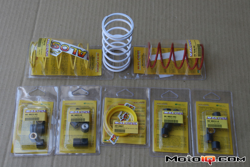 Malossi roller weights, contrast springs, torsion controler tuning aids