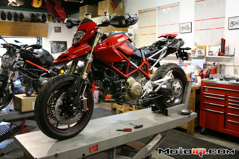 Project Ducati Hypermotard under construction at AMS