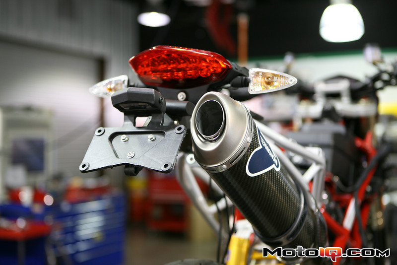 Tail Tidy and Ducati performance exhaust on a Hypermotard