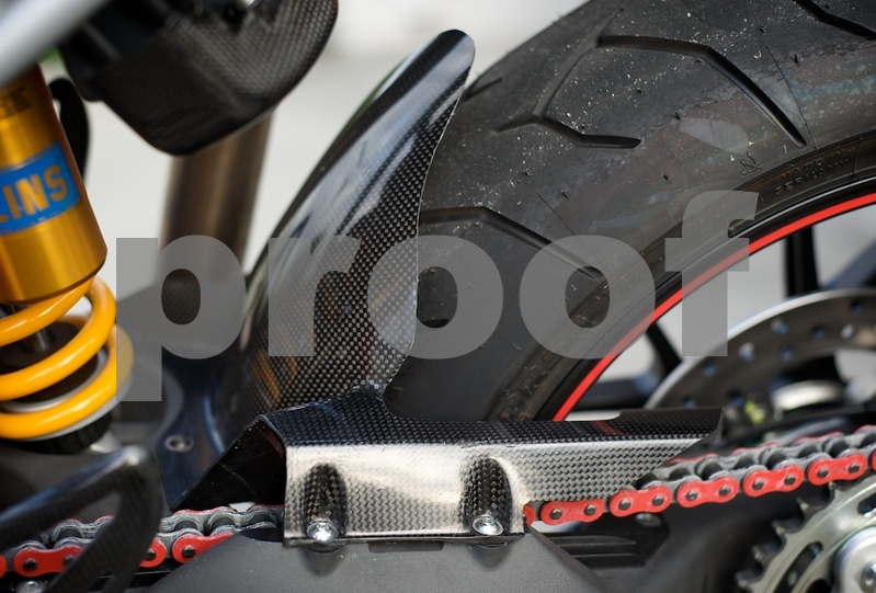 Ducati carbon rear hugger and chain guard for hypermotard