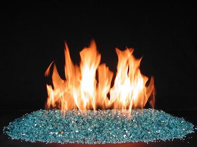 Vented FireGlitter, Blue-Green glass