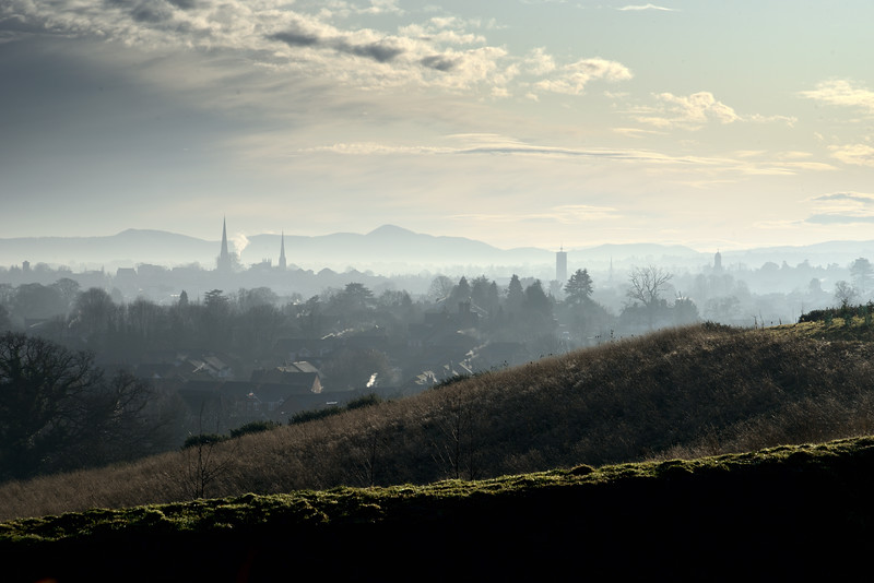 A view of Shrewsbury town centre from Hencote Hill.