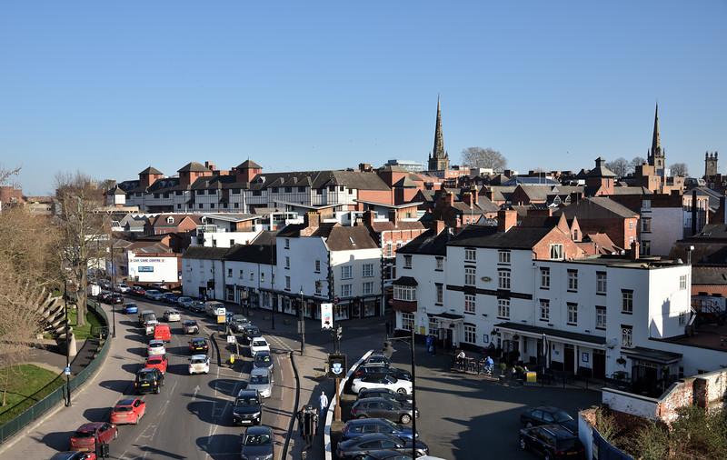 Pamoramic views of Smithfield Road and the Shrewsbury Hotel.