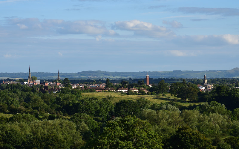 View of the town centre from Hencote, Shrewsbury.