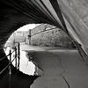 footpath under the English Bridge, Shrewsbury.