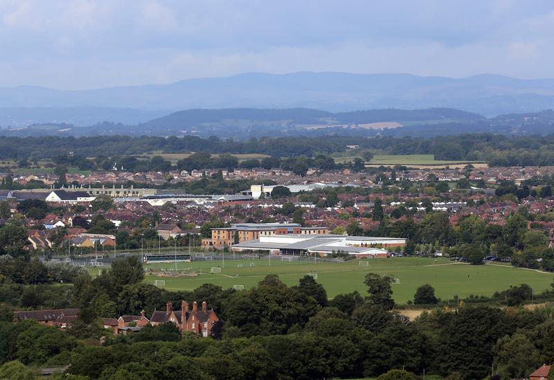 The Sports Village, Sundorne, Shrewsbury viewed from Haughmond Hill.
