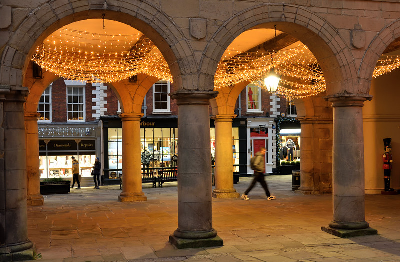 Christmas lights in the old market hall,  the square, Shrewsbury.