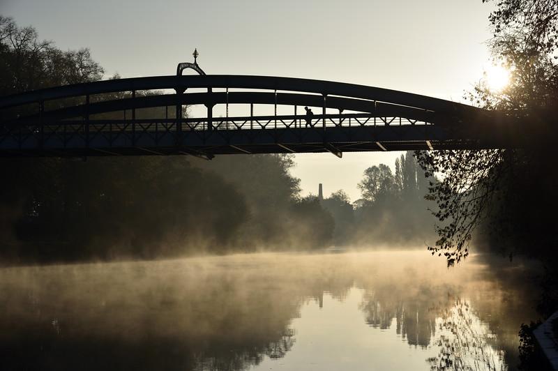 mist rising off the River Severn, Shrewsbury.
