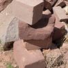 Tiwanaku. Hard volcanic andesite versus soft red sandstone.