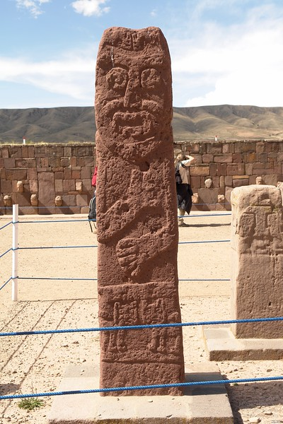 Tiwanaku. Maybe a later work, soft red sandstone. He had a beard, much different to the local indigineous people in South America which have no facial hair at all.