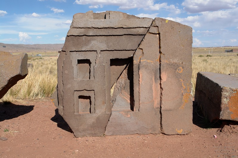 Puma Punku. Only 1km away from Tiwanaku. This site is scattered with small (up to 1m) blocks of andesite and huge (up to 10m) pieces of red sandstone.
