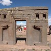 Tiwanaku. Gate of the Sun. The metal door hinges have been broken away hundreds of years ago.