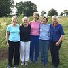 Some of the Class of 1960 visiting the farm of Susie Cooley and her partner Kim Burton in Barton, Vermont: Alice Fales Stewart, Lisa Heun Locke, Anne Palms Chalmers, hostess Susie Cooley, and Celina Kellogg Moore