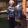 Sandra Craig Bessieres `68 pictured in her home sewing studio with a jacket she just finished