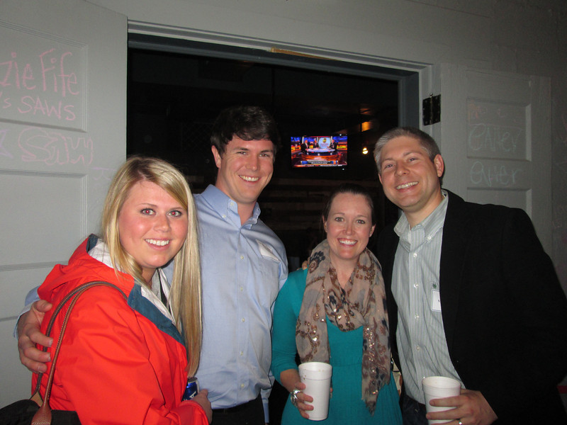 Kathryn Yarbrough and Andrew Dann '07, Jaime and Alex Vaughn '03 at the Birmingham Alumni Gathering at Saw's Juke Joint, February 21, 2013