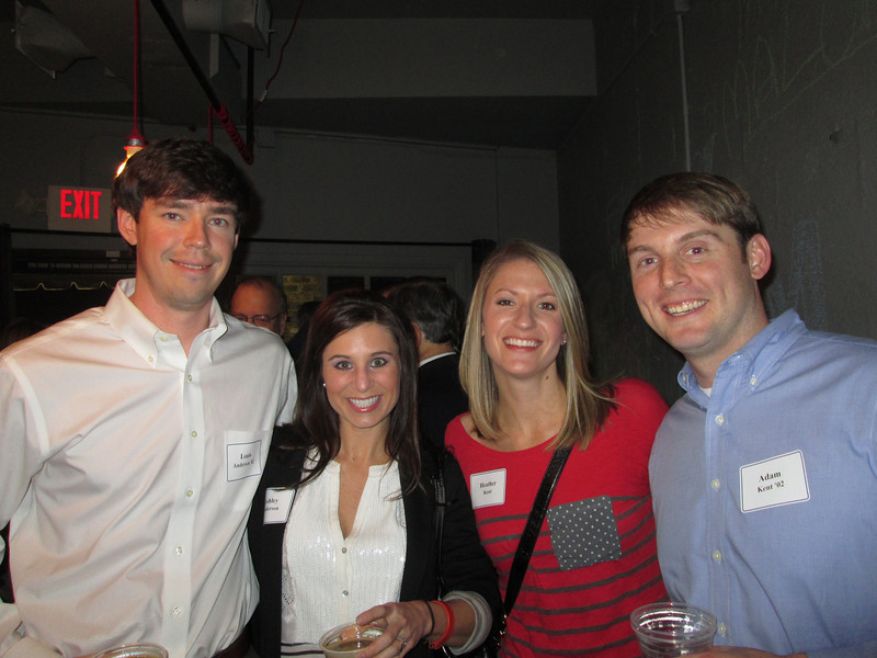 Louis Anderson '02, Ashley Anderson, Heather Kent, and Adam Kent '02 at the Birmingham Alumni Gathering, February 21, 2013, at Saw's Juke Joint