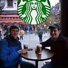 Carter Clarke '12 and Joe Painter enjoy Starbucks, Old City of Shanghai