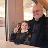Brent Everett '88 and son, Ben, on the train to the Great Wall