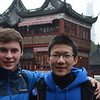 Carter Clarke '12 and Wei Sun '13 in the shopping district, Old City of Shanghai