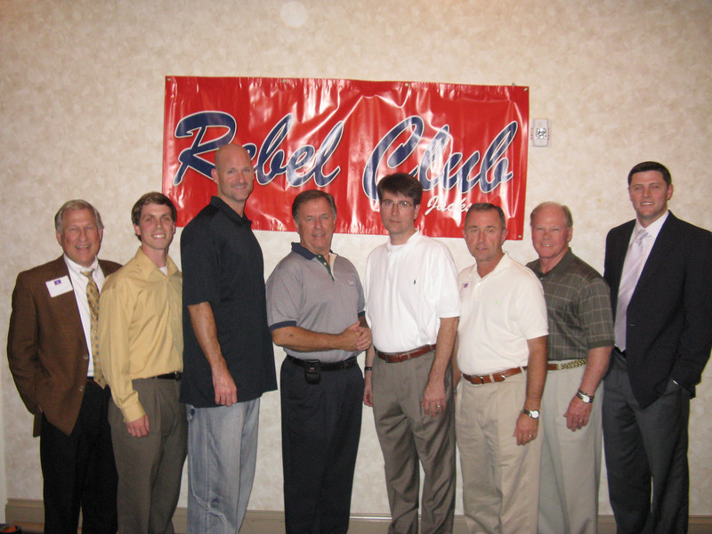 L to R:  Jon Turner, Matt Glover, Ole Miss Head Basketball Coach Andy Kennedy, Wendell Wiggins, Woody Wilkerson, Mike Brown, Charlie Williams, Ole Miss Athletic Foundation Officer Keith Carter.