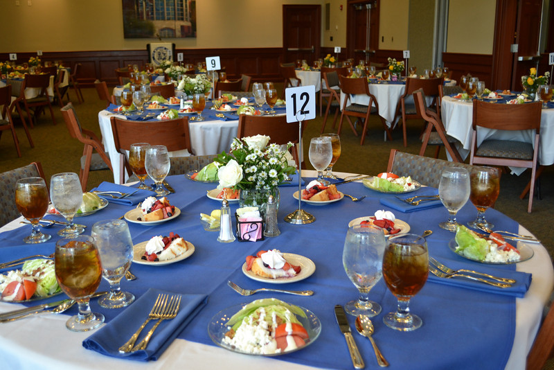 Beautiful table settings and tasty salads!