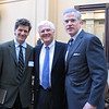 Headmaster Kirk Walker with Big Blue Breakfast speakers Markham Smith '72 and John Tirrill '80.