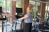 8/16/2011 - Inn at Ole Miss General Manager Gaye Bukur tests out some of the new equipment on installation day.
