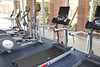 8/17/2011 - Four treadmills and two elliptical machines equipped with large screen monitors line the wall facing the pool.