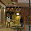 Contractors work on the original entrance to Butler Auditorium in preparation for new office space. 11/17/09