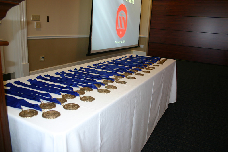 Commemorative medallions to be presented to our Legal Legacies.  Legal Legacies are those law alumni who have been out of law school for 50+ years.