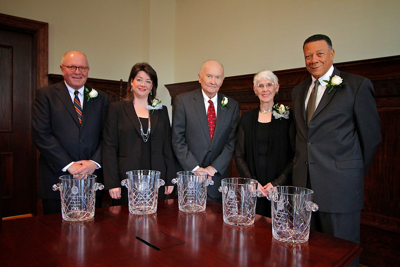 UM Law Alumni Hall of Fame Class of 2011: (l-r) Crymes G. Pittman, Jennifer Ingram Wilkinson (representing Hon. Evelyn Gandy), Jack F. Dunbar, Norma Bourdeaux (representing Thomas D. Bourdeaux) and Hon. Reuben V. Anderson.