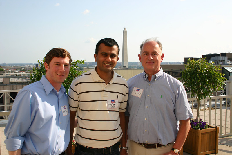 "Matt Black (JD 09), Nirav ""Ralph"" Patel (BA 06, JD 09) and Lanny Griffith (BBA 73, JD 76)"