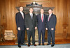 Advancement team for the School of Law includes Tim Walsh (BPA 83, MEd 91), Alumni Director, Jamie White (BA 96, JD 00), Development Officer, Dean Richard Gershon and Scott Thompson (BA 97, MA 08), Law Alumni Secretary.
