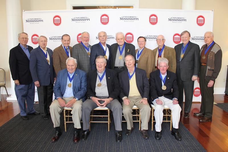 Legal Legacies attending the luncheon included sitting: Barney Eaton (LLB 60), George Cossar (LLB 60), Roger Flynt (LLB 64), Micheal Corrigan (LLB 64) standing: Pat Scanlon (LLB (60), Sherman Muths (LLB 60), Tom Lilly (LLB 60), Walter Blessey (LLB 64), Scotty Welch (LLB 64), Lucius Dabney (LLB 49), Lee Davis Thames (LLB 60), Fred Wicker (LLB 48), Jim Herring (LLB 63) and Ken Wooten (LLB 60)