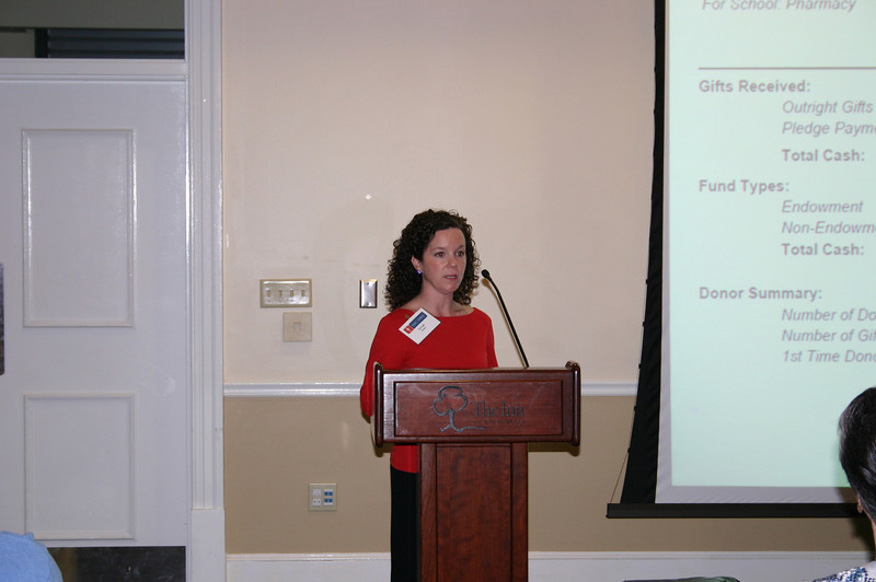 School of Pharmacy development officer Sarah Hollis gives a financial report