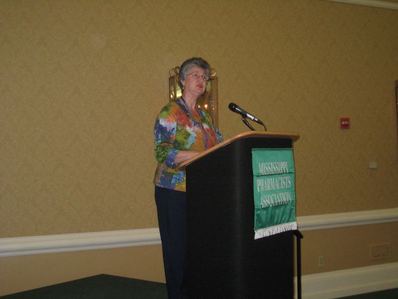 Dean Barbara Wells gives a pharmacy school update and announces her retirement