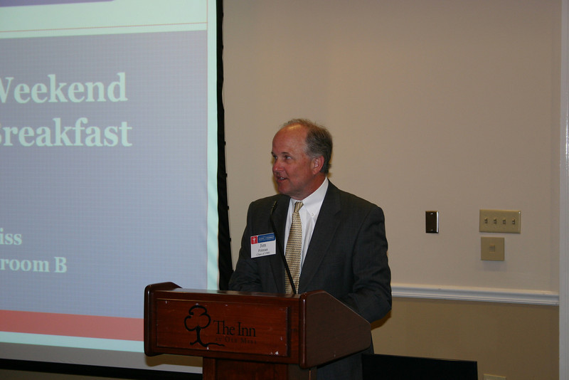Jim Pittman, President of the Pharmacy Alumni Chapter, presides over the annual Pharmacy Weekend Breakfast