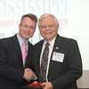 Dean Allen congratulates Rep. Forrest Hamilton (BSPh 63) on 50 years of achievement