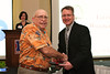 Dean David Allen congratulates Larry Wozencraft, who was celebrating his 50th reunion.