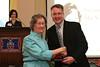 Dean David Allen congratulates Virginia Lamb MacNaughton, who was celebrating her 50th reunion.