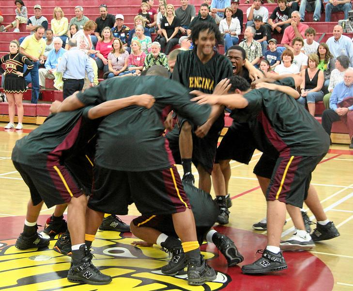 Varsity team's pregame huddle