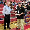 Steve Palmer '74 and David Levis (Encina student activities director) go over schedule