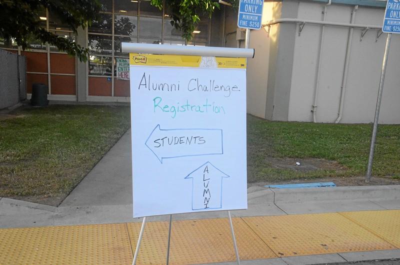 Alumni Challenge registration sign outside cafeteria