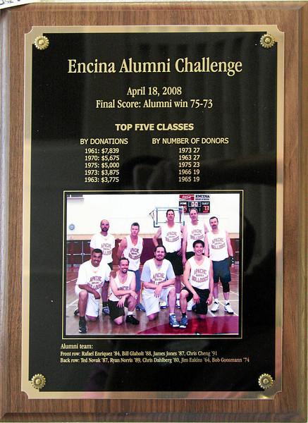 Alumni Challenge plaque for 2008
