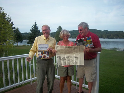 The duly elected Co-Chairs of the Route 66 Planning Committee - Left to right - Paul Emmons, Donna (Powers) Hovey, John Hall